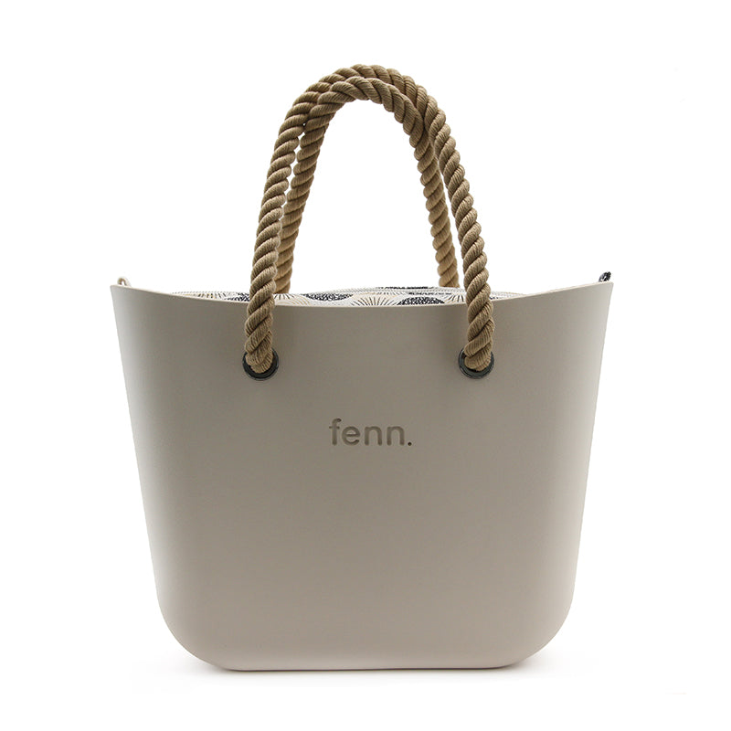 FENN ORIGINAL CHAMPAGNE BAG WITH PATTERN INNER + ROPE HANDLE