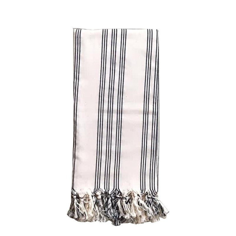 WOVEN COTTON TOWEL, SOLID CREAM WITH BLACK STRIPES + MIXED TASSELS