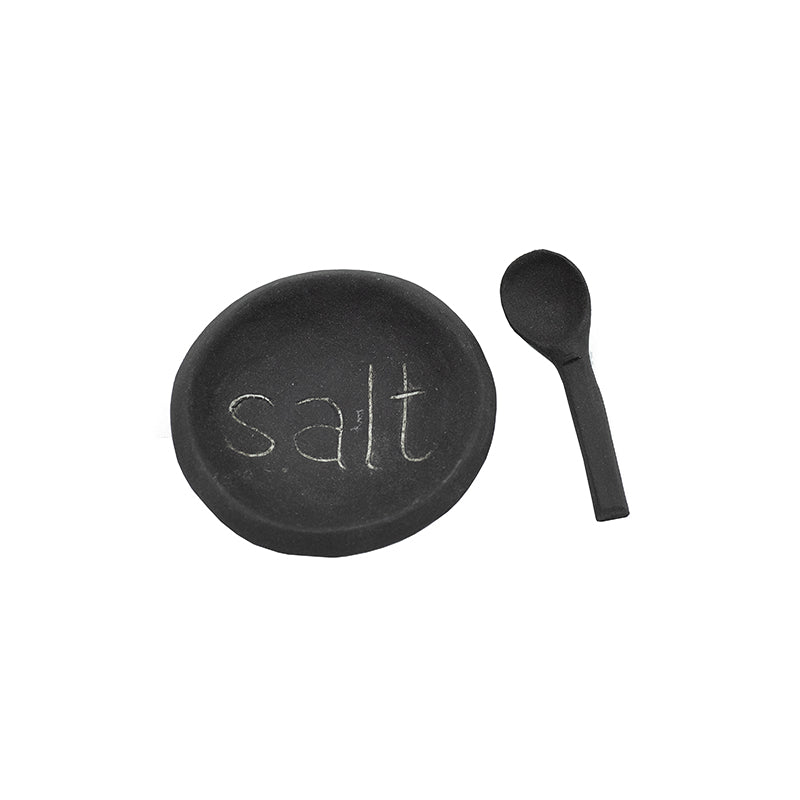 CLAY SALT BOWL & SPOON SET