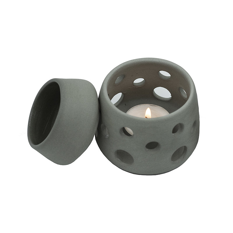 BLACK HANDMADE 2 PIECE CERAMIC OIL BURNER
