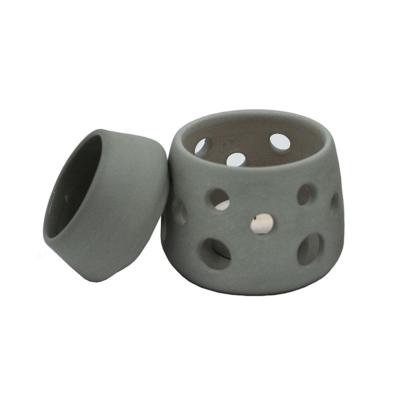 GREY HANDMADE 2 PIECE CERAMIC OIL BURNER