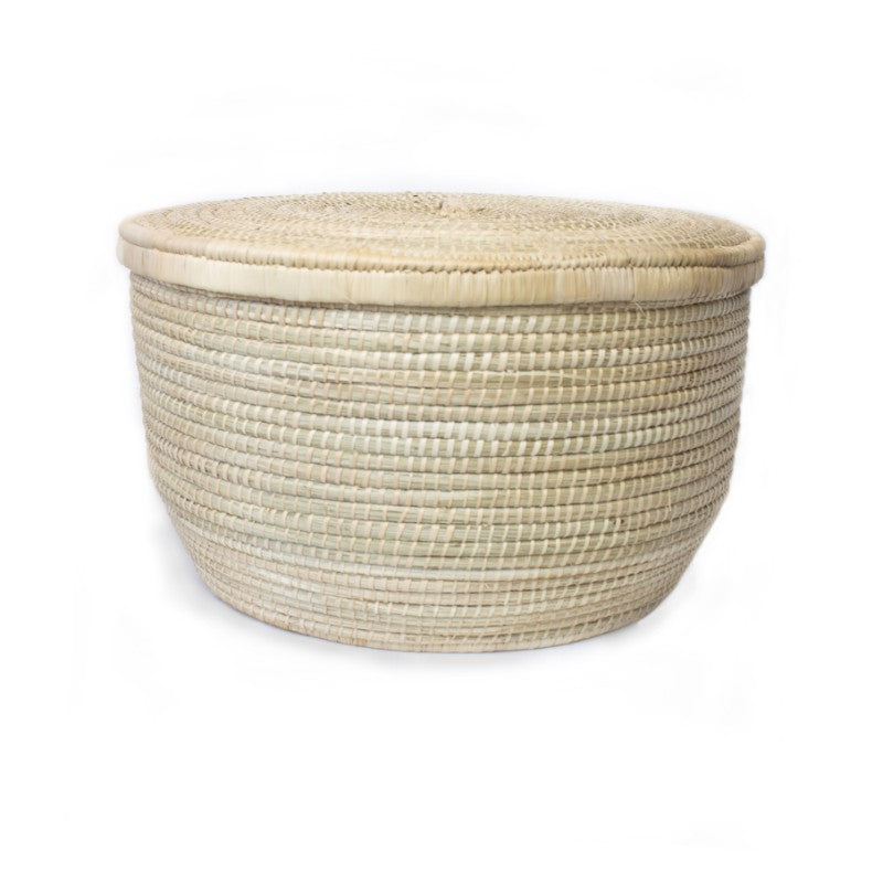 WOVEN ROUND BASKET WITH LID