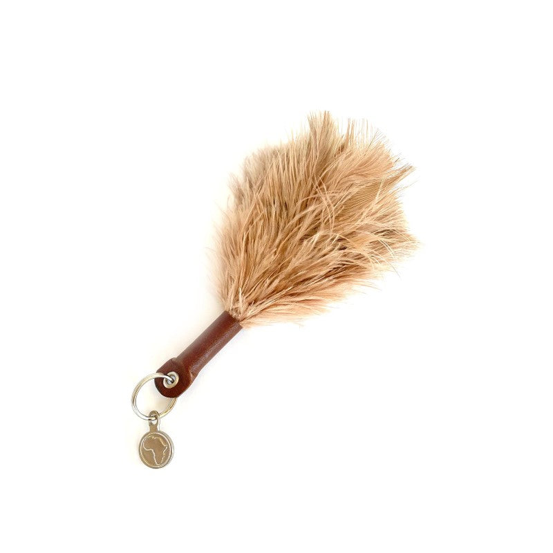NATURAL OSTRICH FEATHER KEYRING