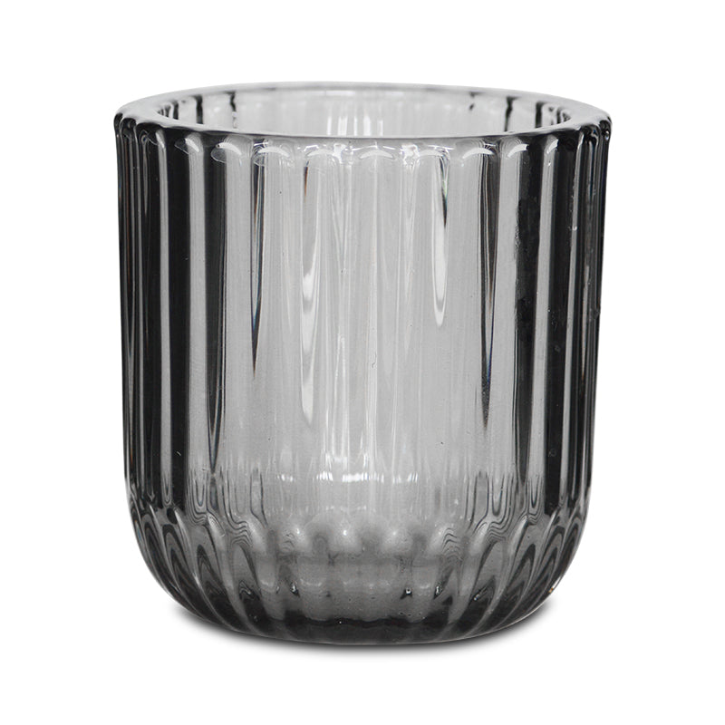 SMOKEY CHARCOAL RIBBED TEALIGHT HOLDER