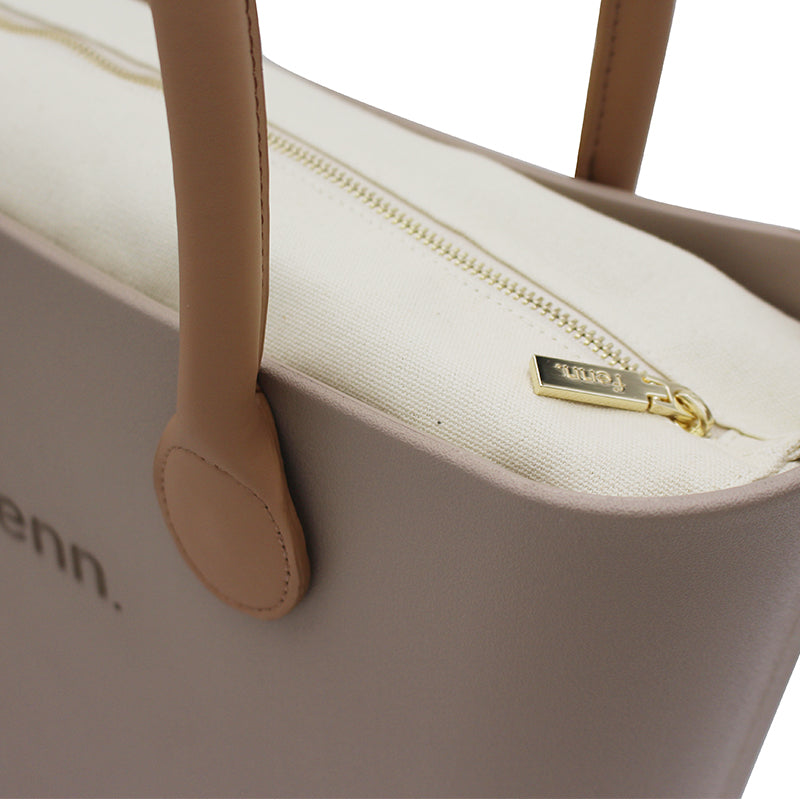 FENN ORIGINAL STONE BAG WITH NATURAL INNER + TAN HANDLE