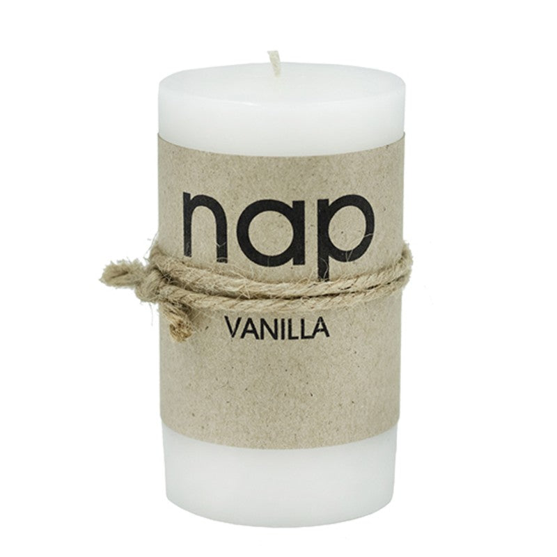 WHITE VANILLA nap SCENTED PILLAR CANDLES