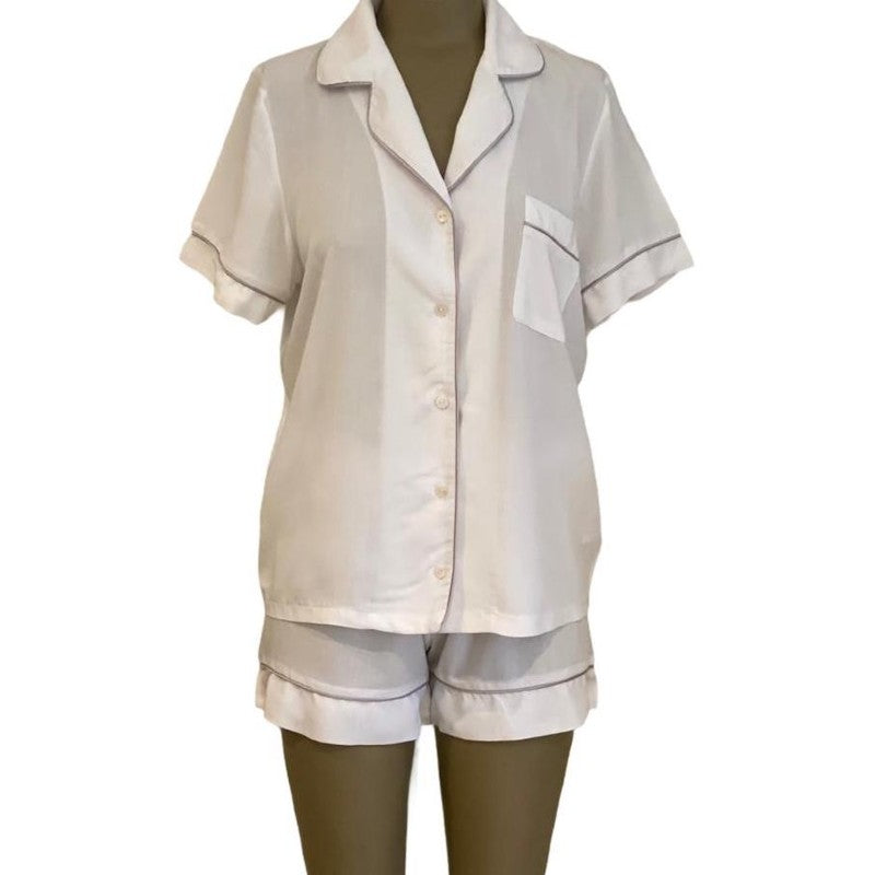 WHITE CLASSIC SHORT SLEEPWEAR SET