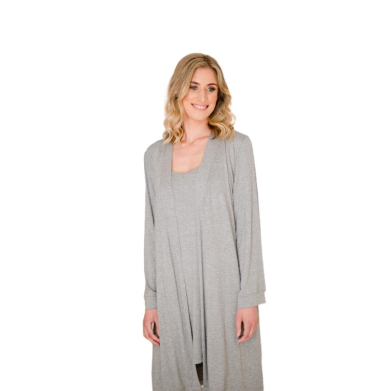 GREY MELANGE KNIT STRAPPY NIGHTDRESS