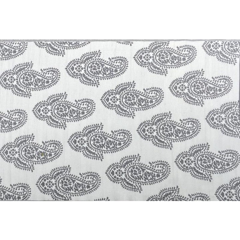 GREY PAISLEY UPCYCLED WOVEN MAT