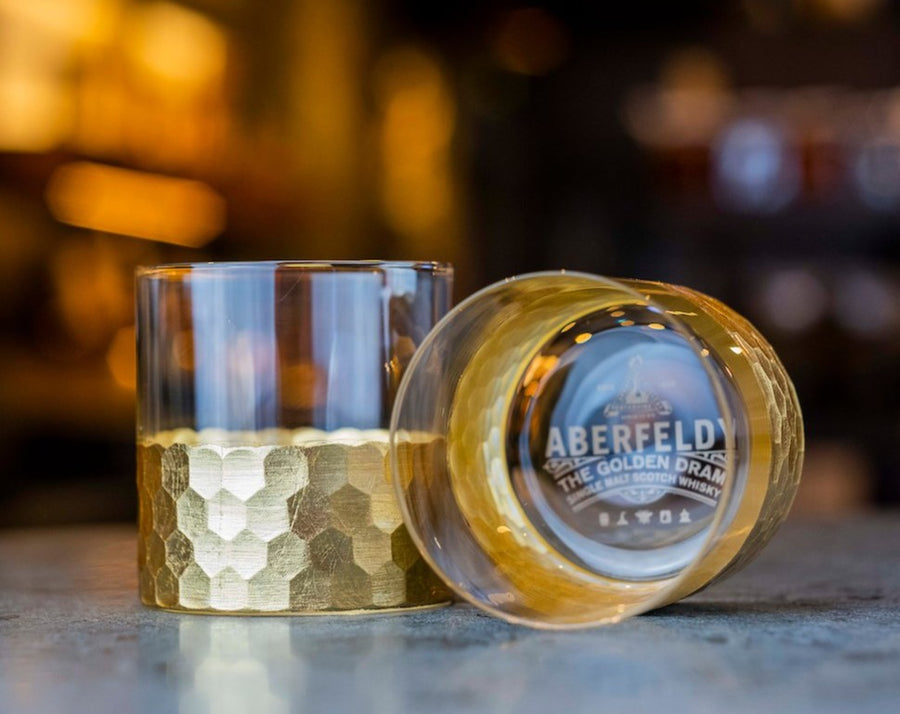 2 gold Aberfeldy rocks glasses