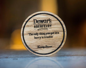 Single 'Dewarism' oak coaster