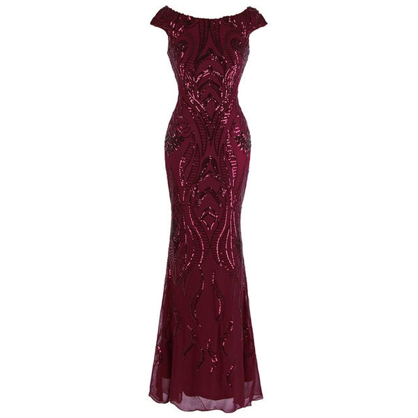 V Back Vintage Sequin Mermaid Long Evening Dress