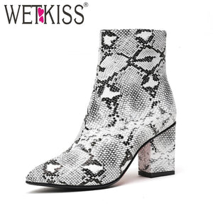 WETKISS Print Snake Women Ankle Boots