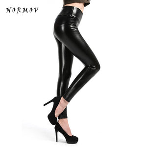 NORMOV Women Faux Leather Leggings