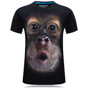 Men's  O-Neck animal T-shirt monkey/lion