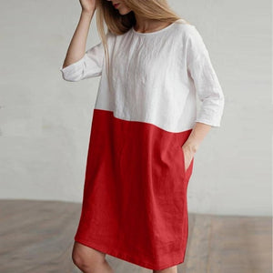 KANCOOLD Women 1/2 Sleeved Cotton Linen Dress