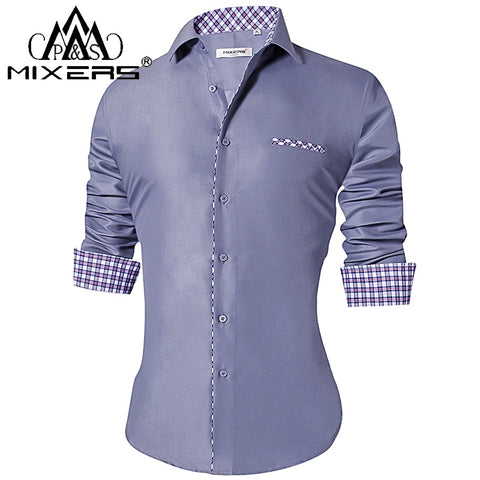 Men's Slim Fit Men's Casual  Long Sleeve Shirts