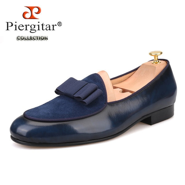 Genuine Leather and Suede stitching with Bow-tie Men's dress shoes