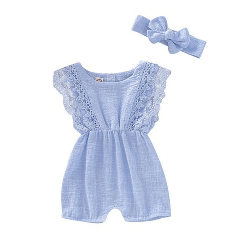 Baby Flare Sleeve Solid Lace Design Romper Jumpsuit with Headband