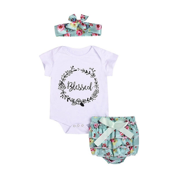 Newborn floral baby girl romper with lace skirt bebes headbands
