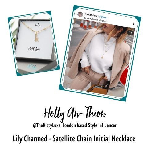 Kitty Luxe in Satellite Chain Initial necklace by Lily Charmed