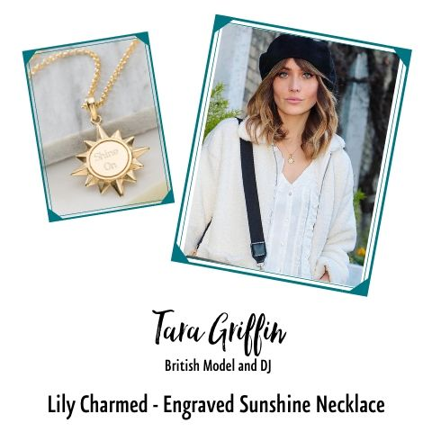 Tara Griffin in Lily Charmed Engraved Sunshine Necklace