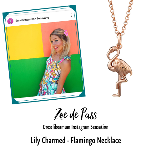 Dress Like a Mum Zoe de Pass Flamingo Necklace Lily Charmed