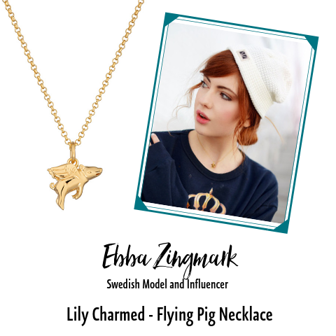 Ebba Zingmark Swedish Model in Lily Charmed Flying Pig Necklace