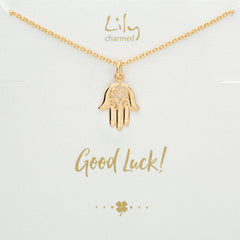 Gold Fatima Hand Necklace with Good Luck Message by Lily Charmed