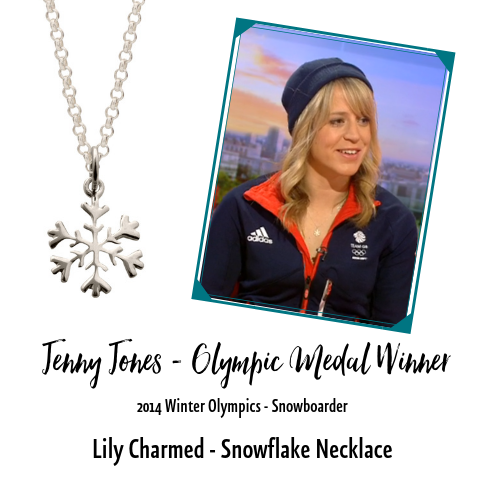 Jenny Jones Olympic Medallist Snow Boarder Lily Charmed Snowflake Necklace