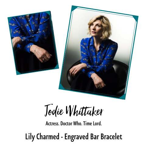 Jodie Whittaker In Engraved Bar bracelet by Lily Charmed