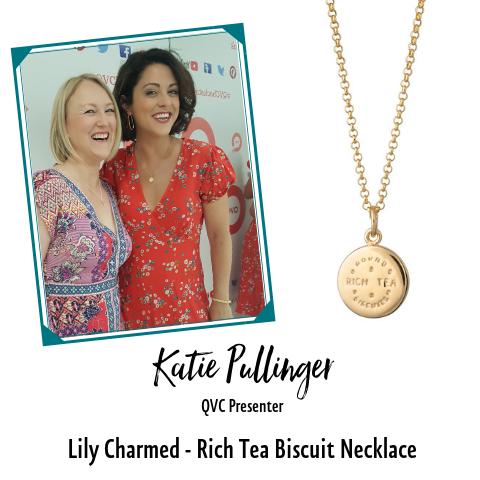 Katie Pullinger QVC TV Presenter in Gold Rich Tea Necklace by Lily Charmed