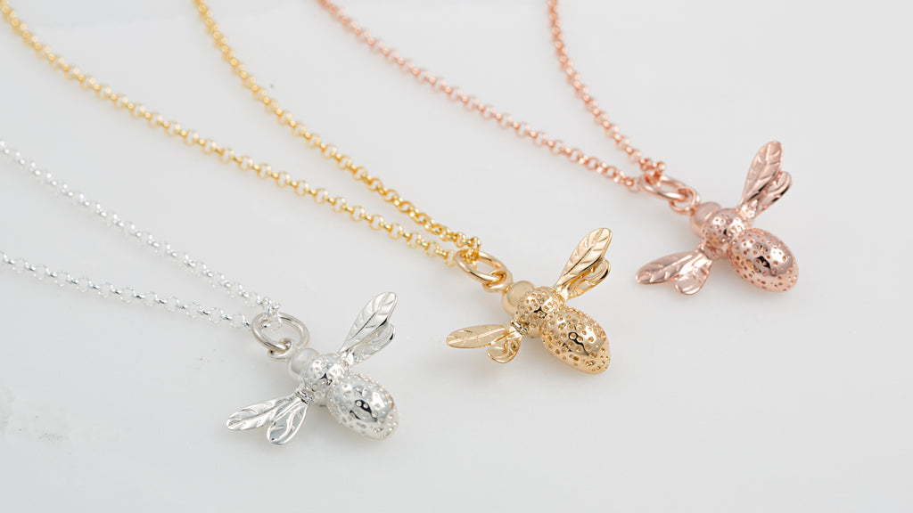 Bee Necklaces by Lily Charmed, made from recycled silver
