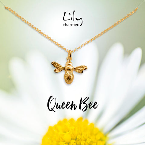 Gold Bee Necklace on Queen Bee Message Card