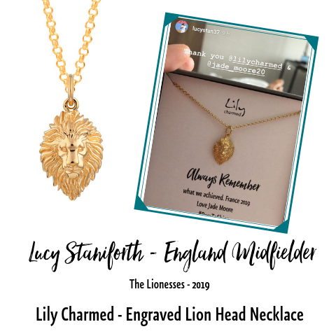 Lucy Staniforth England Footballer Lily Charmed Lion Head Necklace