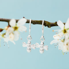 Silver Bee Hook Earrings by Lily Charmed