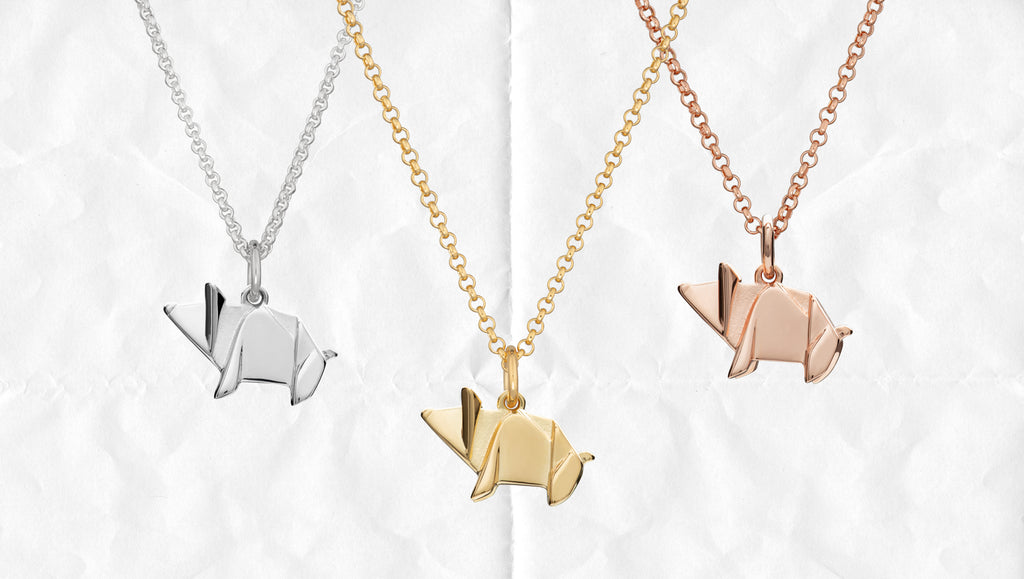 Origami Pig Necklace by Lily Charmed