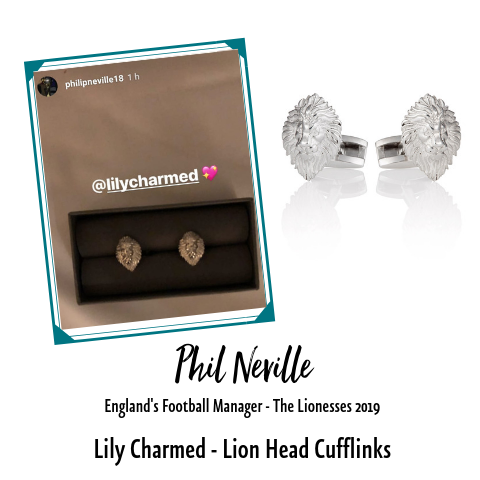 Phil Neville England Manager Lion Head Cufflinks