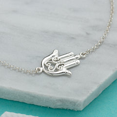 Silver Fatima Hand Necklace by Lily Charmed