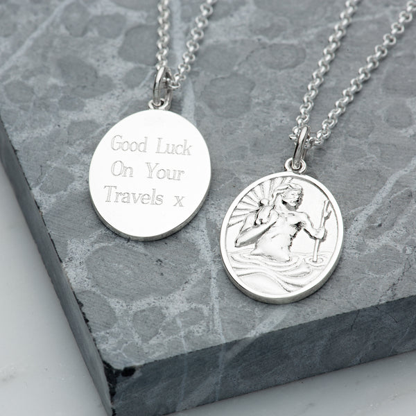 Engraved St Christopher Necklace by Lily Charmed
