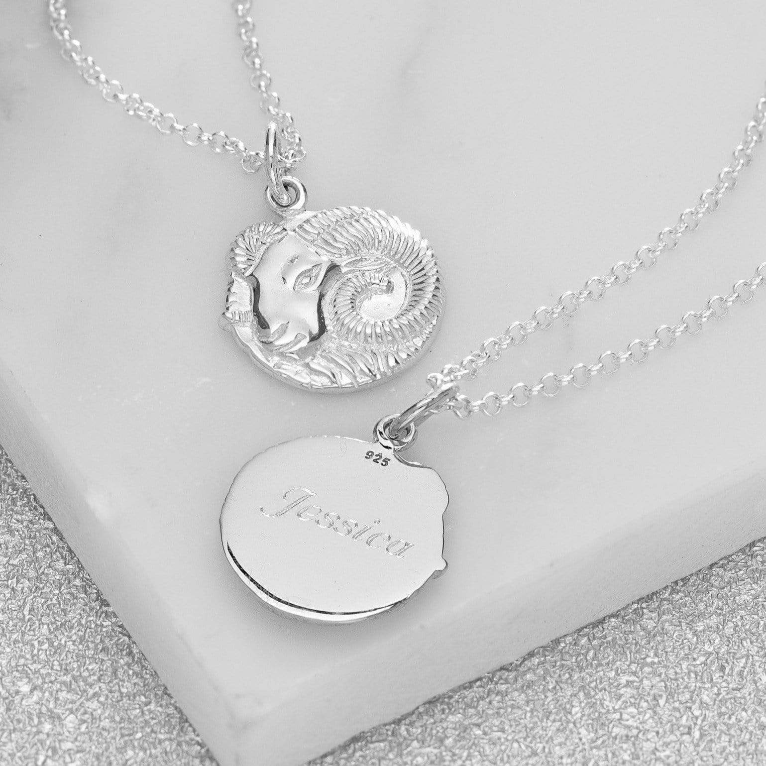 Engraved Silver Aries Zodiac Necklace - Lily Charmed