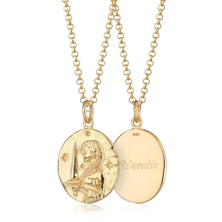 Engraved Gold Plated Virgo Zodiac Necklace - Lily Charmed