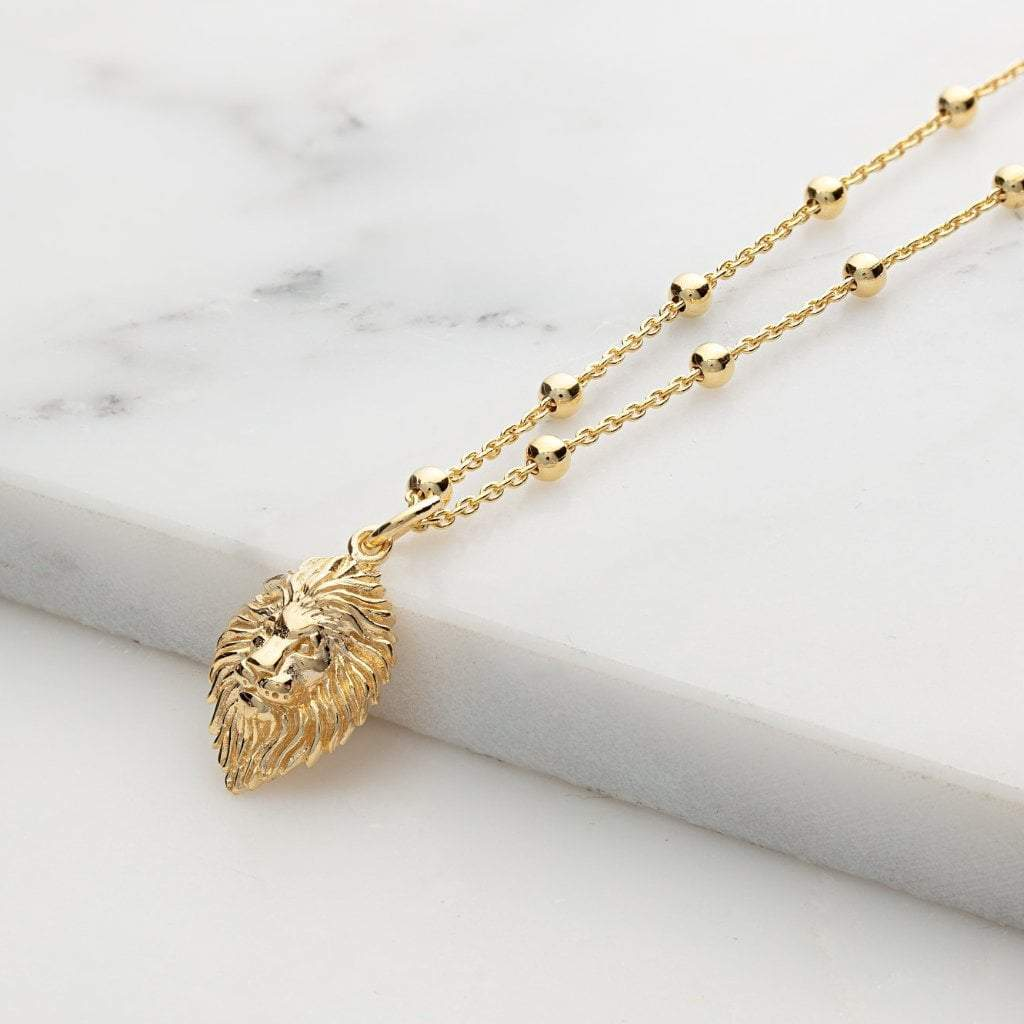 Personalised Gold Plated Lion Head Satellite Chain Necklace