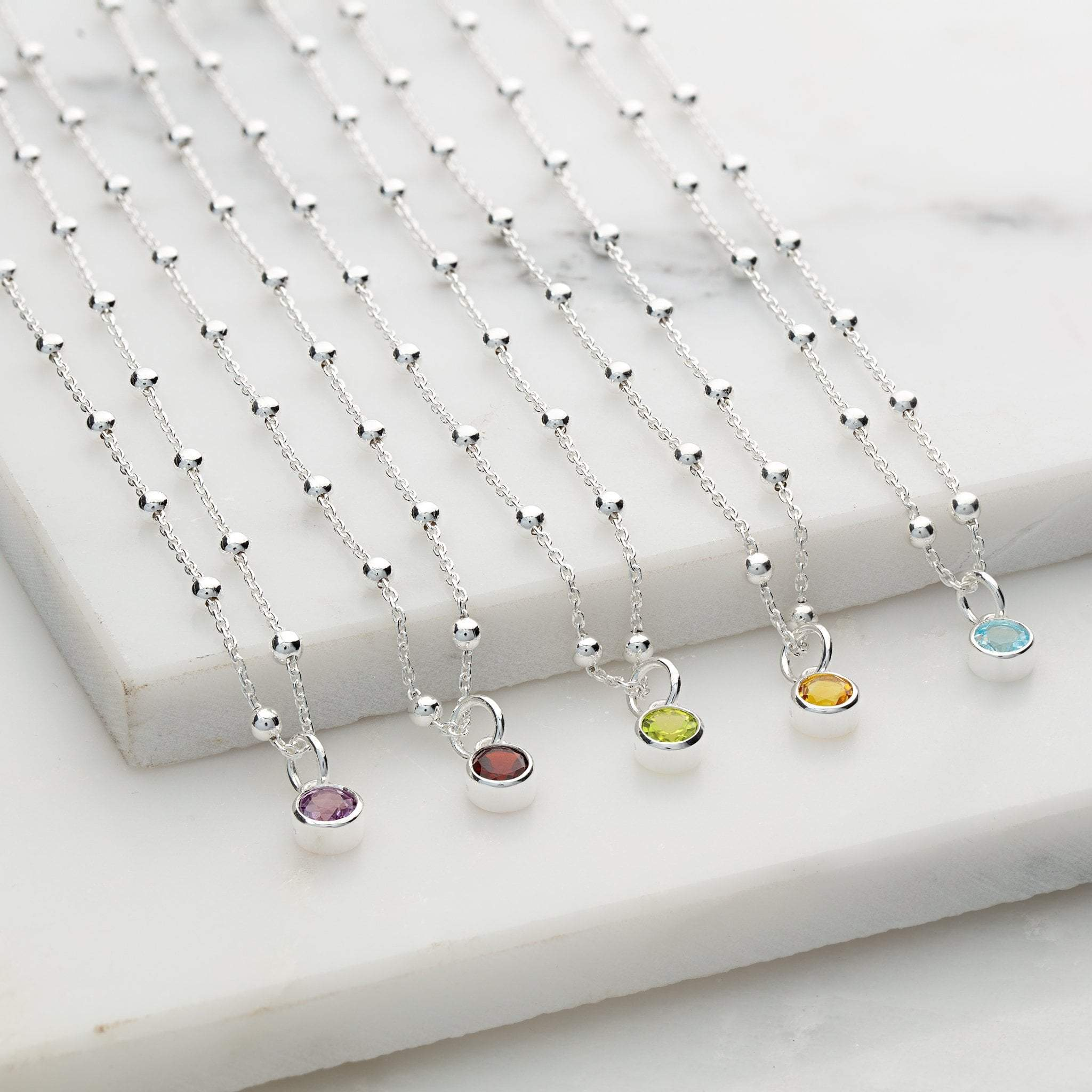 Personalised Birthstone Satellite Chain Necklace - Lily Charmed