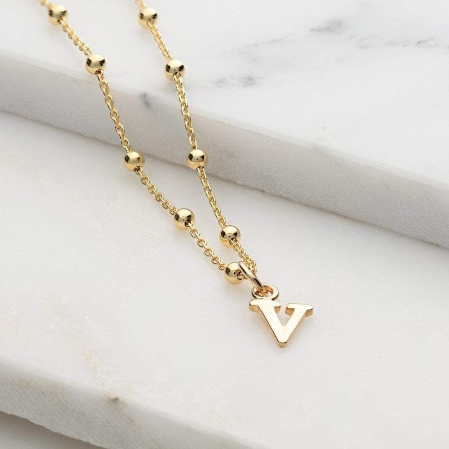 Personalised Gold Plated Satellite Chain Initial Necklace - Lily Charmed
