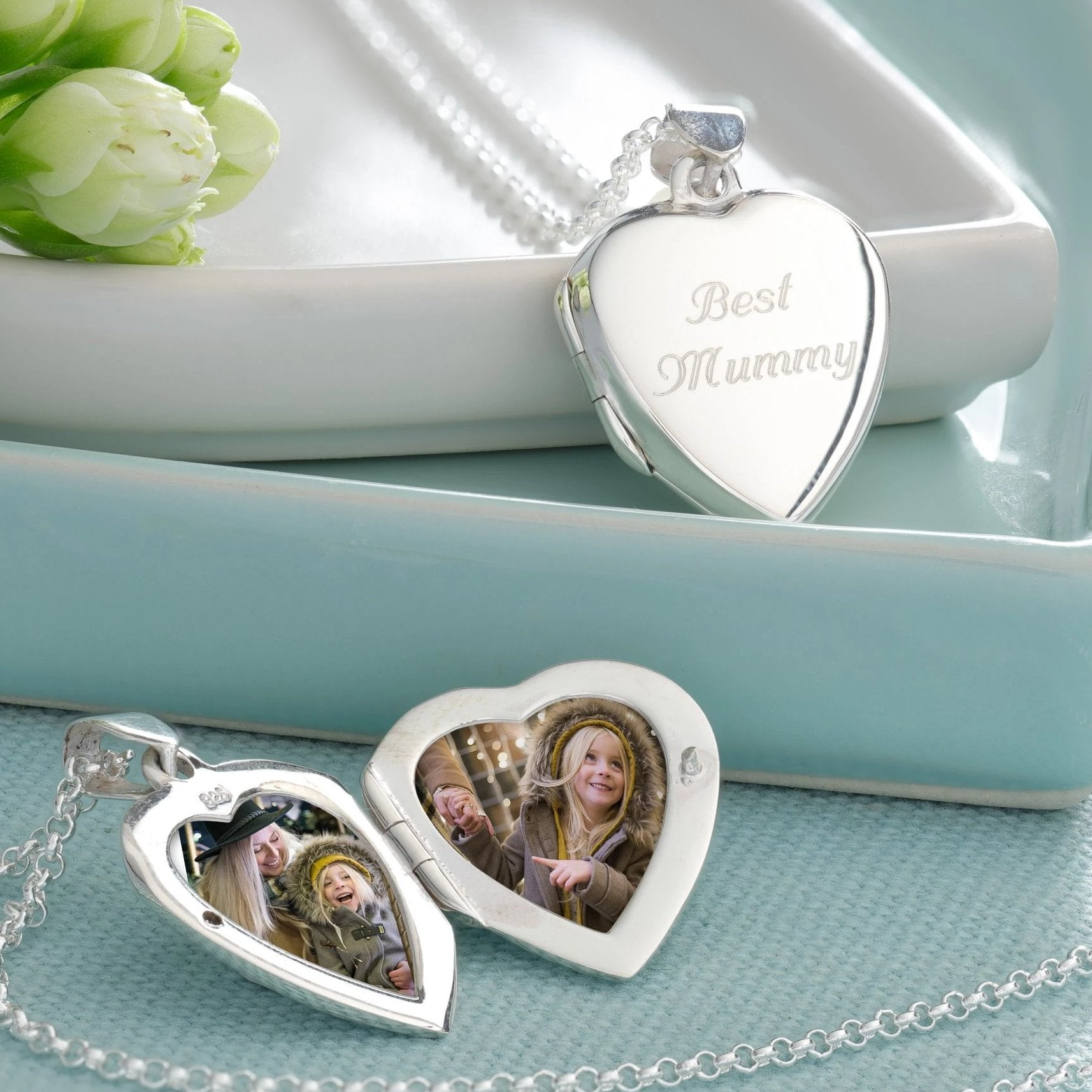 Engraved Silver Large Heart Locket Necklace - Lily Charmed