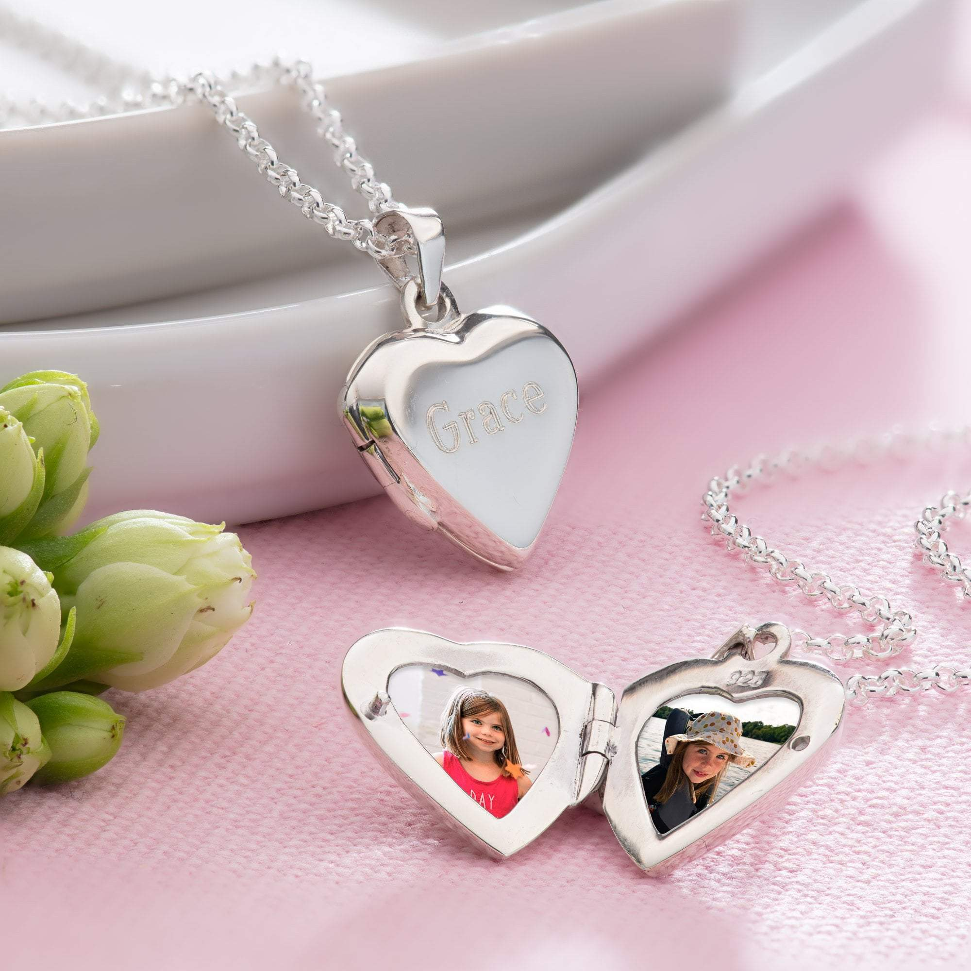 Engraved Silver Heart Locket Necklace - Lily Charmed