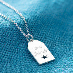 Engraved Silver Star Tag Necklace - Lily Charmed