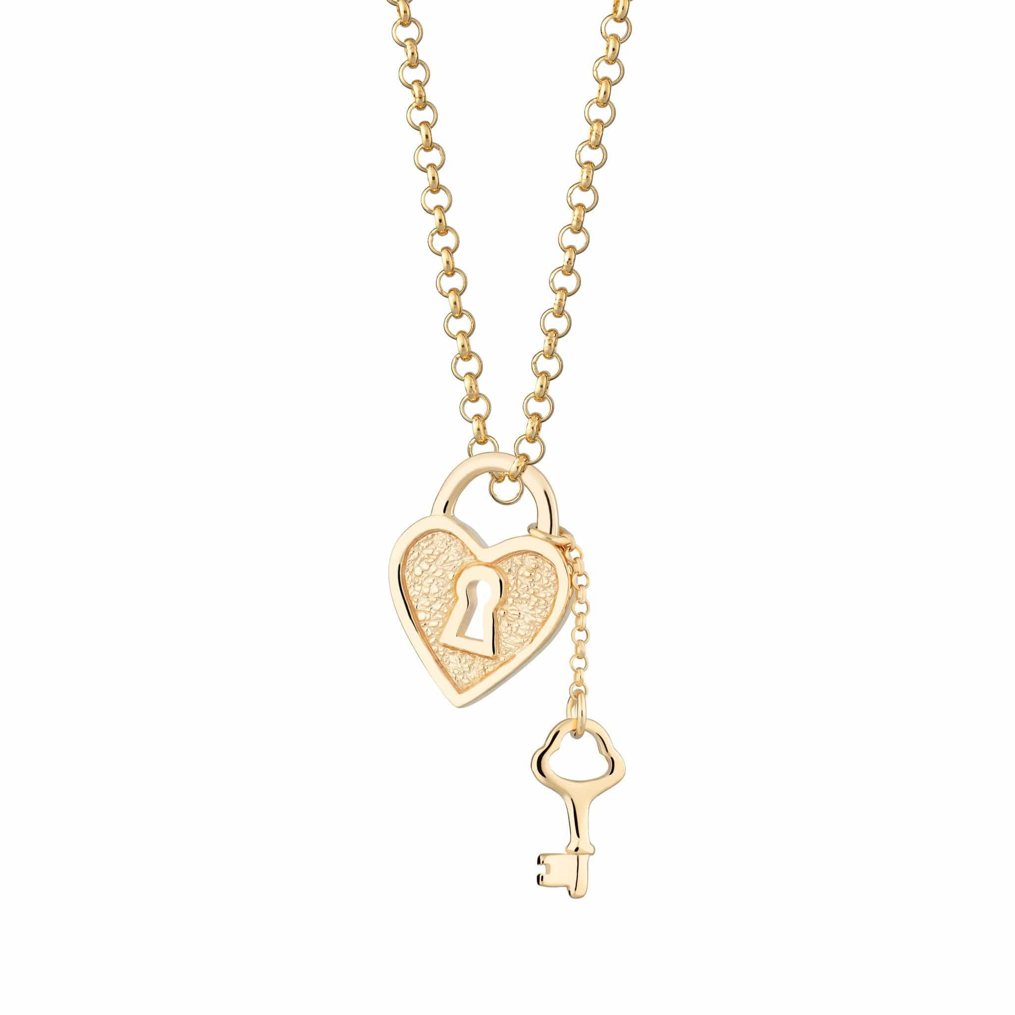 Personalised Gold Plated Heart Shaped Padlock and Key Necklace - Lily Charmed