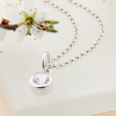 Personalised April Birthstone Necklace (White Topaz) - Lily Charmed